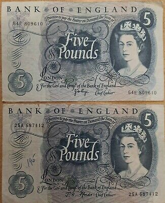 £0.99 • Buy 2 X Bank Of England £5 FForde Note 1967 54E And 25A One In High Grade
