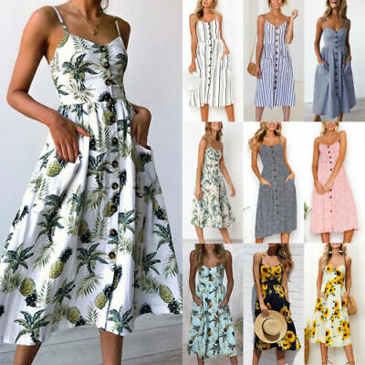 £14.19 • Buy Women's Holiday Party Midi Dress Ladies Casual Strappy Button Pocket Sun Dress