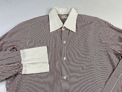 £10.96 • Buy TURNBULL ASSER Striped Long Sleeve Button Front French Cuff Dress Shirt Contrast