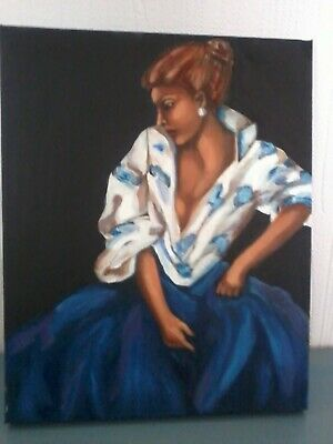 £2.50 • Buy Oil On Canvass Woman In Blue