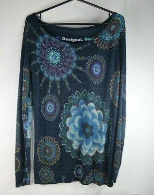 £10 • Buy Ladies Desigual Long Sleeved Sparkly Pattern Top - Size L