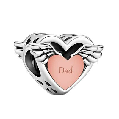 AU26.99 • Buy S925 Silver & Rose Gold Dad Angel Wings Heart Family Charm By YOUnique Designs