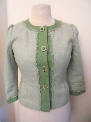 £12 • Buy Bnwot New Next Fitted Jacket 3/4 Sleeves Green Linen Mix Size 10 Peplum Look
