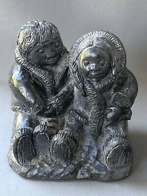 £19.99 • Buy Wolf Canada Hand Carved Soapstone Inuit Eskimo Sculpture Man And Woman Sitting