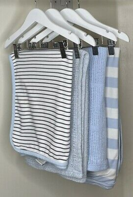 £1.99 • Buy 4x BABY BOYS WHITE / BLUE BLANKET BUNDLE – MIXED SIZES - USED - EXCELLENT