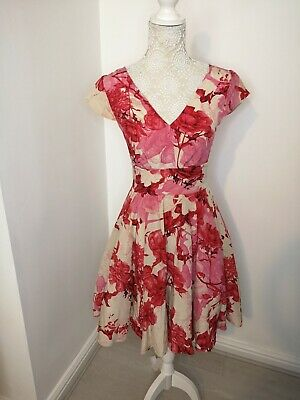 AU47.03 • Buy Ted Baker Size 1 UK 8 CISSI Pink Red Cream Floral Fit And Flare Silk Dress