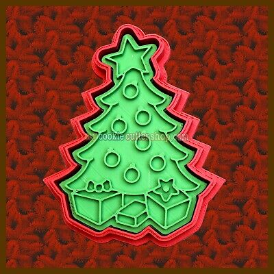 AU12.95 • Buy Christmas Tree Cookie Cutte With  Parcels Imprint Stamp -for Cookies,fondant