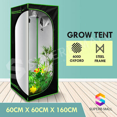 AU74.69 • Buy Hydroponic Grow Tent Indoor Reflective 60x60x160cm Plant Room Grow System 600D