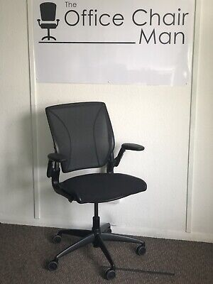 £225 • Buy Humanscale Diffrient World ALL BLACK Task Chair With Mesh Back & Black Seat Pad