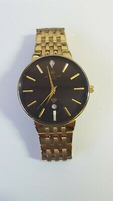 £19 • Buy Accurist Mens Gold Plated Day Three Hand Movement Diamond Watch Excellent Cond