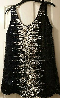 £4.99 • Buy NEW Black Silver Glitter Sequin Top Lady Size 10 Party Fashion Shiny Lined Women