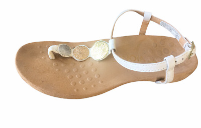 £26.79 • Buy Vionic With Orthaheel White Lizbeth Leather Sandals Size 6 Metal Accents