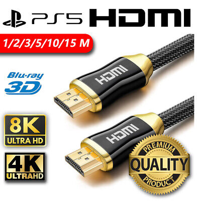 AU6.95 • Buy Premium Quality HDMI Cable Cord 15M 10M 5M 3M 2M 4K Ultra HD XBOX PS4 Goldplated