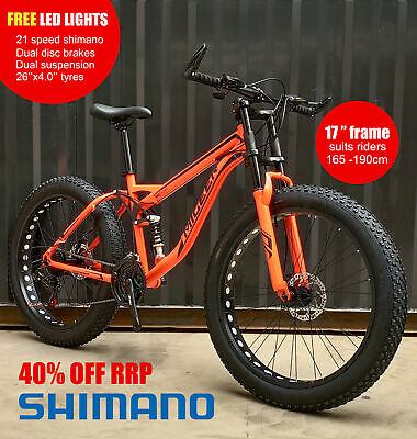 AU599 • Buy PREORDER 26x4.0 Migeer Dual Suspension Downhill Fat Tyre Bike SHIMANO 21Speed O