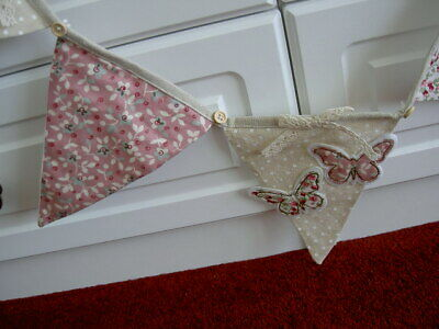 £3.25 • Buy Langs Butterfly & Flower Fabric Bunting Pink Green Beige Bows & Buttons 1.5m