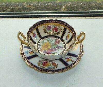 £25 • Buy Paragon Fine China Soup Bowl & Stand Cobalt Blue Floral Queen Mary C1940s