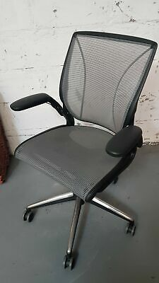£154.99 • Buy Humanscale Diffrient World Black / Gray / Chrome Ergonomic Office Chair With Arm