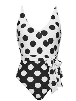 £24 • Buy Figleaves @ Next Sz 12 Long Spotted Swimming Costume / Swimsuit Bnwt