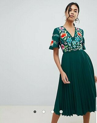 AU42 • Buy Green ASOS DESIGN Pleated  Midi Dress With Embroidery