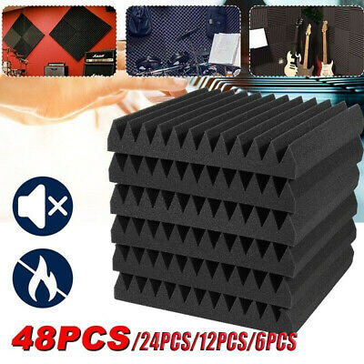 £21.99 • Buy 6/12/24/48 Acoustic Wall Panel Tiles Studio Sound Proofing Insulation Foam Pads