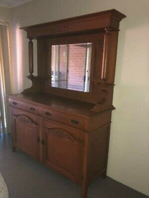 AU399 • Buy Exquisite Antique Timber Sideboard Cabinet With Mirror