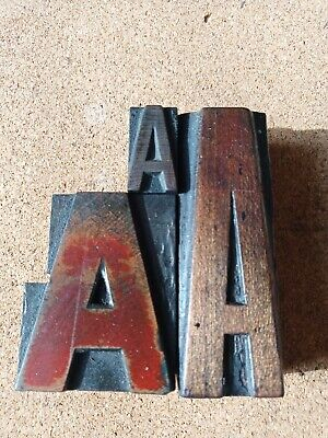 £6.99 • Buy 3 X Wooden Letterpress Printing Blocks Of Letter A. Highest Is 76mm Free Postage