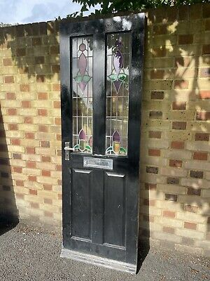 £225 • Buy Reclaimed Victorian Wooden Panel Front Door Leaded Stained Glass 1980 X 685mm