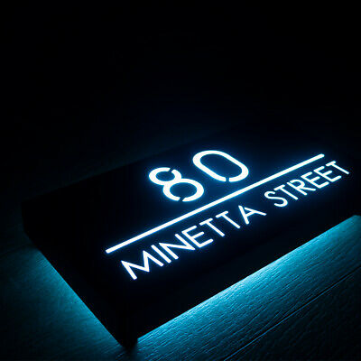 £125 • Buy LED House Number Sign Illuminated Black Metal Plaque 30 X 15cm