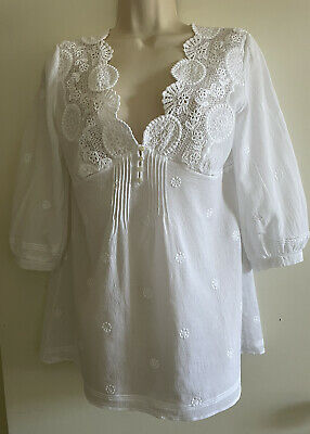 AU20 • Buy Massimo Dutti Sheer White Loose Fit Blouse Size 12