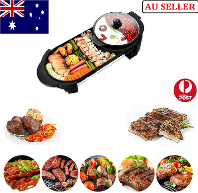 AU59.99 • Buy 2 In 1 Electric BBQ Hotpot Oven Smokeless Barbecue Pan Grill Machine Steamboat