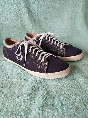 £14.50 • Buy Mens Fred Perry Canvas Shoes Navy / White Flat Trainers Uk Size 8