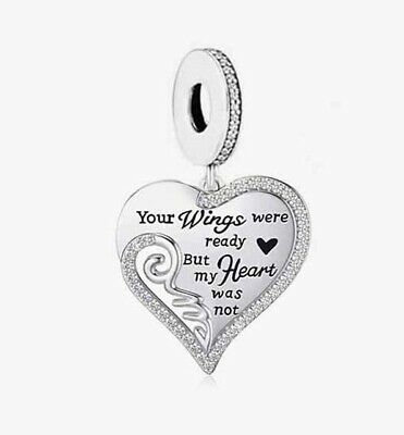 AU28.99 • Buy S925 Silver Your Wings Were Ready Memorial Family Heart Charm -YOUnique Designs