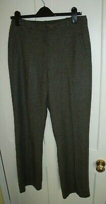 £6.99 • Buy M & S Autograph Green Tweed Half Lined Straight Leg Trousers Size 14 Long
