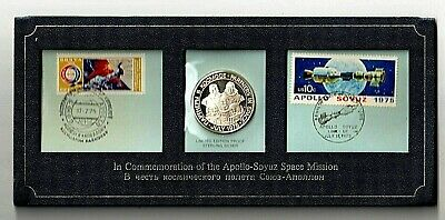 AU19.50 • Buy 1975 Franklin Mint Partners In Space Commemorative Silver Medal And Stamps.