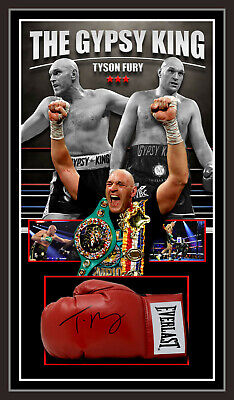 AU1495 • Buy TYSON FURY GYPSY KING SIGNED & FRAMED BOXING GLOVE - BECKETT USA Authenticated