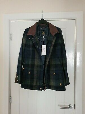 £150 • Buy Joules Women's Fieldcoat Tweed Coat - Green And Navy In A UK 12 New With Tags