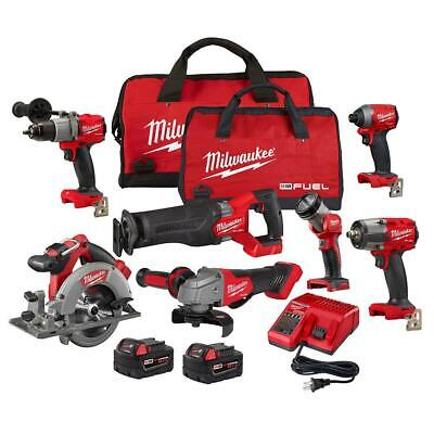 £906.88 • Buy Milwaukee Power Tool Combo Kit 5.0 Ah Batteries Charger Bags Cordless (7-Tools)