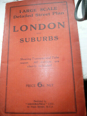 £3.20 • Buy Street Plan Of London And Suberbs Map Geographia 6 Old Pence BELIEVED CIRCA 1920