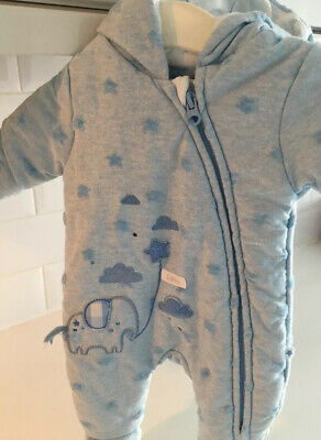 £3.99 • Buy Gorgeous Tiny Early Prem Baby Pramsuit Pale Blue Very Cosy 5lbs