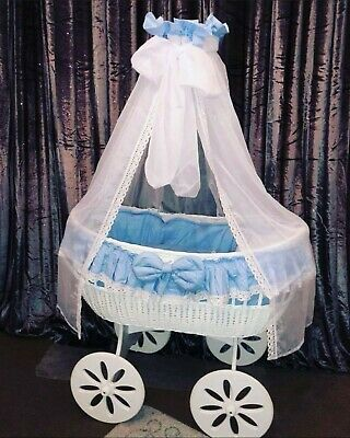 £149.99 • Buy MJ Marks Moses Basket Crib With Lace Drapes Bedding And Mattress Baby Blue