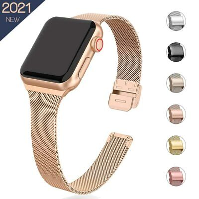 AU1.32 • Buy Slim Milanese Loop Band Apple Watch Metal Strap IWatch SE/6-1 Silicone Leather