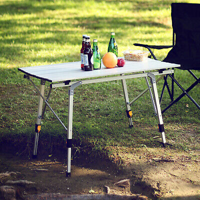 £38.99 • Buy Folding Camping Table Aluminium Portable Adjustable Party BBQ Outdoor Carry Bag