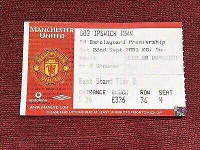 £2 • Buy Match Ticket Manchester United V Ipswich Town Barclays Premiership 22/9/2001