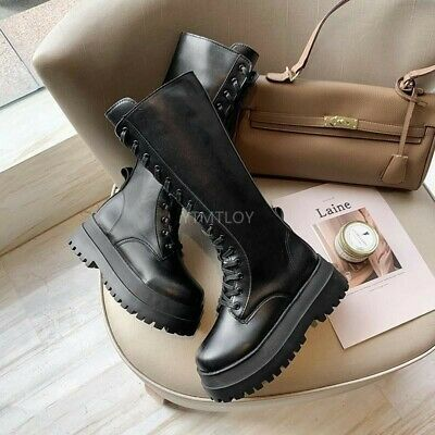 £8.80 • Buy WOMENS LADIES Black Platform Gothic Knee High Mid Combat Lace Up Boots