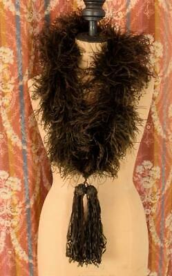 £155 • Buy Gorgeous Antique French Ostrich Feather Boa With Silk Ribbon Tassels, C1890