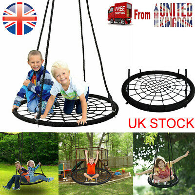 £24.99 • Buy Kids Round Rope Swing Seat Outdoor Nest Spider Web Tree Swing Baby Toys Black
