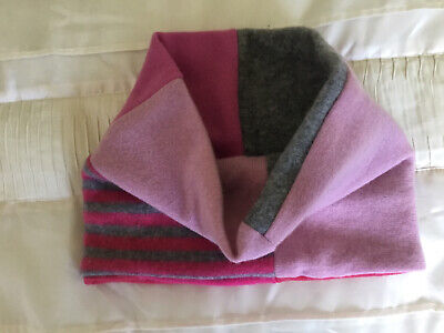 £19.99 • Buy 100% Pure Cashmere Pink & Grey Shades Double Thick Snood Neck Warmer Upcycled