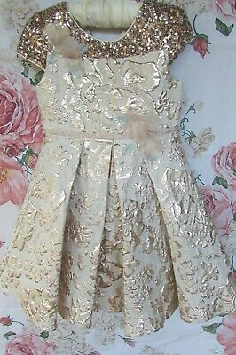 £14.99 • Buy Gold Sequin Embossed Flower Girl Party Occasion Dress 3-4 MONSOON £48 WORN ONCE