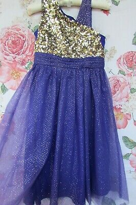 £16.99 • Buy Purple Gold Sequin Tulle Flower Girl Party Occasion Dress 6-7 MONSOON £50