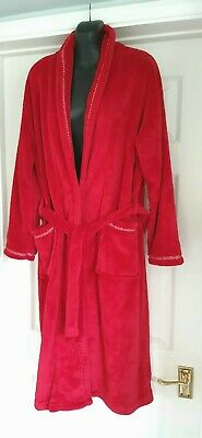 AU23.89 • Buy Soft Fleece Dressing Gown Robe Red Size 12-14 Tie Belted Calf Length Pockets VGC